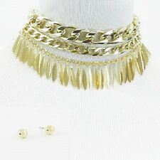 "13"" Chunky Gold Plated Triple Layer Linked Chain Choker Fringe Necklace"