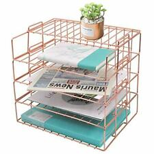 Rose Gold Letter Tray 4 Tier Desk File Organizer For Women Stackable Paper Home