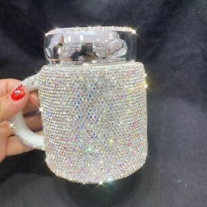 Ceramic Crystal Rhinestones Tumbler Water Cups Sparkling Coffee Mugs With Lid