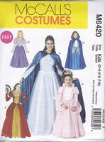 McCall's Sewing Pattern Misses & Girls Costume Dress & Cape 3-8 Sml-Xlg  M6420
