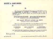 SOCIETE DE ST-JOSEPH CARTE INVITATION THEATRE BLANC-PERIDIER PORTRAITS ANCETRES