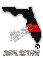 """2- Thin Red Line Decal Florida 2"""" inch Reflective TRL Decals Stickers"""