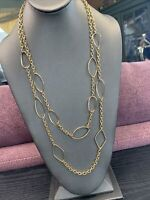 Vintage Long Sweater Necklace Two 2 Strand Chain  Beaded Gold Tone 28""