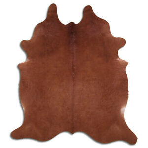 Real Cowhide Rug Solid Brown Size 6 by 7 ft, Top Quality, Large Size