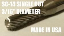 "SC14S Cylindrical Radius 3/16"" Carbide Burr Bur Tool Die Grinder Bit 1/4"" Shank"
