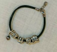 Sterling Silver Lovelinks Leather Bracelet With Charm