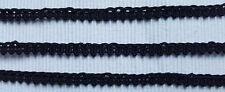 Antik: uralte reine SEIDEN Silk Posamenten Borte Schwarz 6- 7mm um 1900  Nr.2