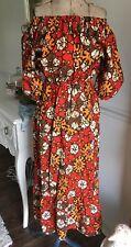 Vintage BOHO ORANGE Ethnic Print COTTON Peasant DRESS Ruffled PUFF SLEEVES M