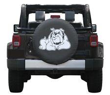 "Black Denim Spare Tire Cover Bull Dog Logo White 32"" Custom New Free Shipping"