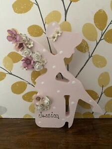 Personalised Freestanding Fairy Tinker bell Wood Pink Name Flower Girl Gift 18mm