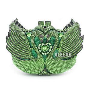 Noble Green Swan Rhinestone Evening Bag Crystal Clutch Women Party Handbag Purse