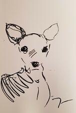 JOSE TRUJILLO - ART OIL PASTELS Painting ABSTRACT Minimalism 13X19 BABY DEER COA