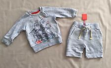 OILILY BABY BOYS PRELOVED SHIP SWEATER & NWT SHORTS 12 MONTHS SZ 74 ~2PC SET