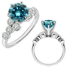 1 Carat Blue Diamond 14K White Gold Fancy Solitaire Cluster Wedding Bridal Ring