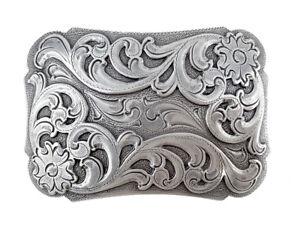 Southwestern Floral Design Sterling Silver Plated Decorative Cowboy Belt Buckle