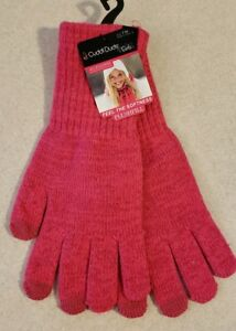 NEW Cuddl Duds Girl SIZE 7-14 Long Length Plushfill Gloves DARK PINK #32119