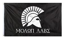 Molon Labe Flag Black Poly Flag 2' X 3' Polyester w/Grommet Holes Rothco 1517