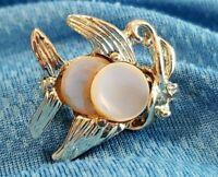 Vintage Angel Fish Brooch Pin Mother of Pearl MOP Gold Tone Metal Ocean Nautical