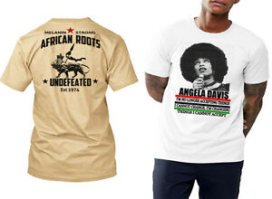 African Roots t-shirt, black history month, MLK, Angela Davis, Malcolm X