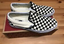 VANS Classic Slip-On Checkerboard Men's SHOES Size 9.5 White Black Sneakers