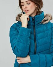 Joules Womens Gosway Chevron Quilt Padded Coat with Hood - DARK TEAL
