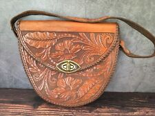 "Leather Hand Tooled Purse Floral Pattern Brown Saddle Bag Unmarked 8.5"" x 9"""