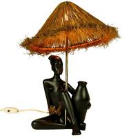 Tisch Lampe Gmundner Keramik Figur Afrikanerin 2263 Lese Leuchte Vintage 50er