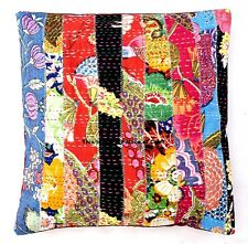 Indian Handmade Kantha Cotton Multicolor Cushion Cover Patchwork Pillow Case 16""