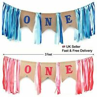 ONE High Chair Banner Baby Boy Girls First One 1st Birthday Party Photo Prop