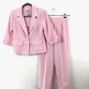 R&K Originals Vtg Pink Seersucker Pantsuit sz 10P