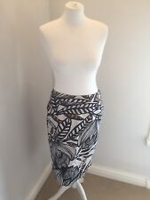 M&S Woman Floral Lined Straight Skirt Black Stone Orange Summer Party Size 10