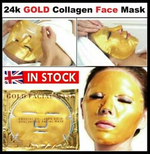 ✔✔ 5 x Collagen Face Mask Gold Skin Wrinkle Anti 24k Facial Care Bio Treatment✔✔