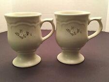Pfaltzgraff Heirloom White Mug Latte Pedestal Footed Coffee Cup, set of 2