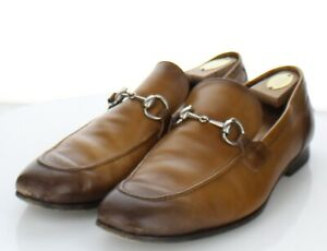 60-65 $790 Men's Sz 9 G Gucci Jordaan Leather Horsebit Loafer In Brown