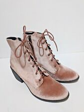 Dolce Vita 8.5 Boots Blush Pink Mauve Velvet Lace Up Side Zip Brand New