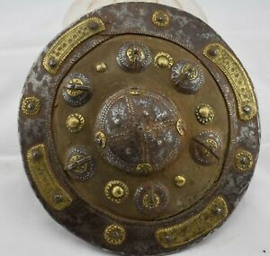 Very Rare Antique Islamic Buckler Shield Leather Iron Copper Ottoman Yemen Oman