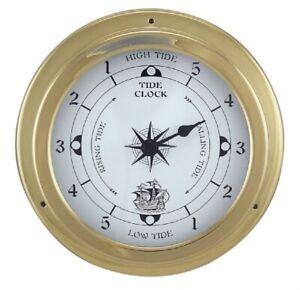 Tidenuhr, Ship's Clock, Maritime Tide Watch IN Brass Case Ø 5 11/16in
