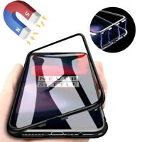 For One Plus 7 Pro 6 6T 5 5T Magnetic Adsorption Metal Case Tempered Glass Cover