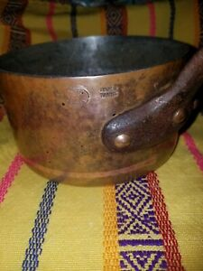 Heavy Copper Pot Sauce Pan Made In France Signed