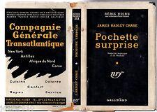 SERIE NOIRE n°353 ¤ JAMES HADLEY CHASE ¤ POCHETTE SURPRISE ¤ EO 1957 +JAQUETTE