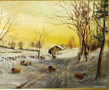 Dorothea Buxton-Hyde Original Oil painting of snow scene traditional gilt frame