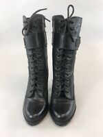 Next 38 UK5 Black Leather Ankle Lace Zip Up Buckle Heeled Booties Boots