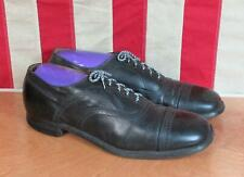 Vintage 1930s Black Leather Mens Toe Cap Oxford Dress Shoes Sz.11 Antique Nice!