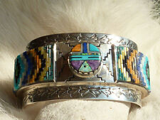 Native American Sterling Silver Navajo Inlay Cuff Bracelet by David Freeland Jr