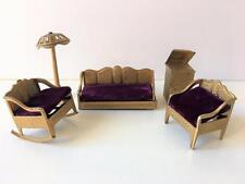 Tootsie Toy Dollhouse Miniature Vtg  LR Lot 5 Couch Phonograph Chairs Lamp 1920s