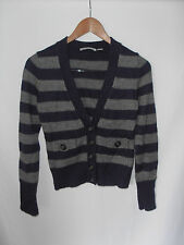 COUNTRY ROAD, SMALL, BLUE GREY STRIPE, ALPACA/WOOL/ACRYLIC, KNIT CROP CARDIGAN