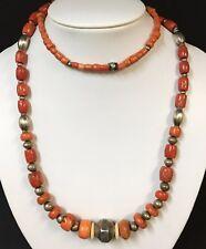 Antike Kette aus Zentral Asien und Jemen Karneol Perlen Muschelkern Silber (4863