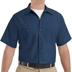 Men's Size Industrial Work Shirt Workwear Regular Fit, Short Sleeve, Navy