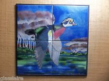 """Vintage Art Tile Mural WOOD DUCK Hand Painted SIGNED MARIE RUSHING 21.5"""""""