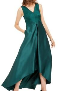 Adrianna Papell Womens Gown Dress Green Size 4 Mikado Pleated V-Neck $229- 185